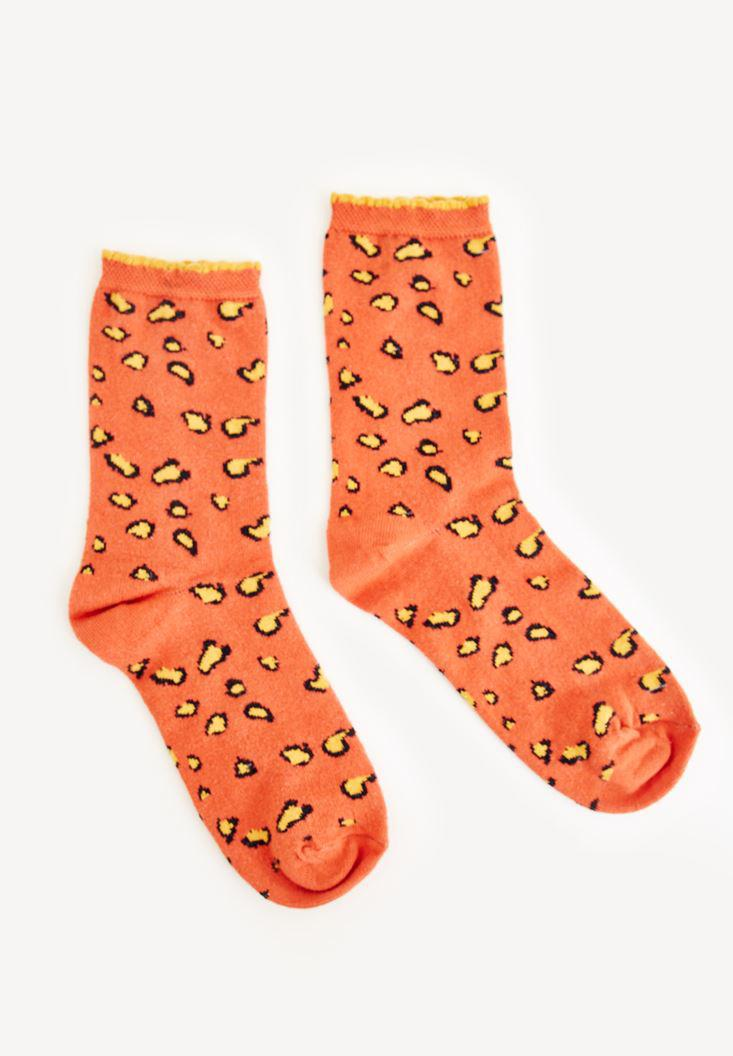 Bayan Turuncu Leopar Desenli Çorap