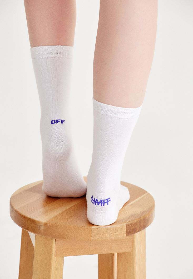 White Socks With Back Detailed
