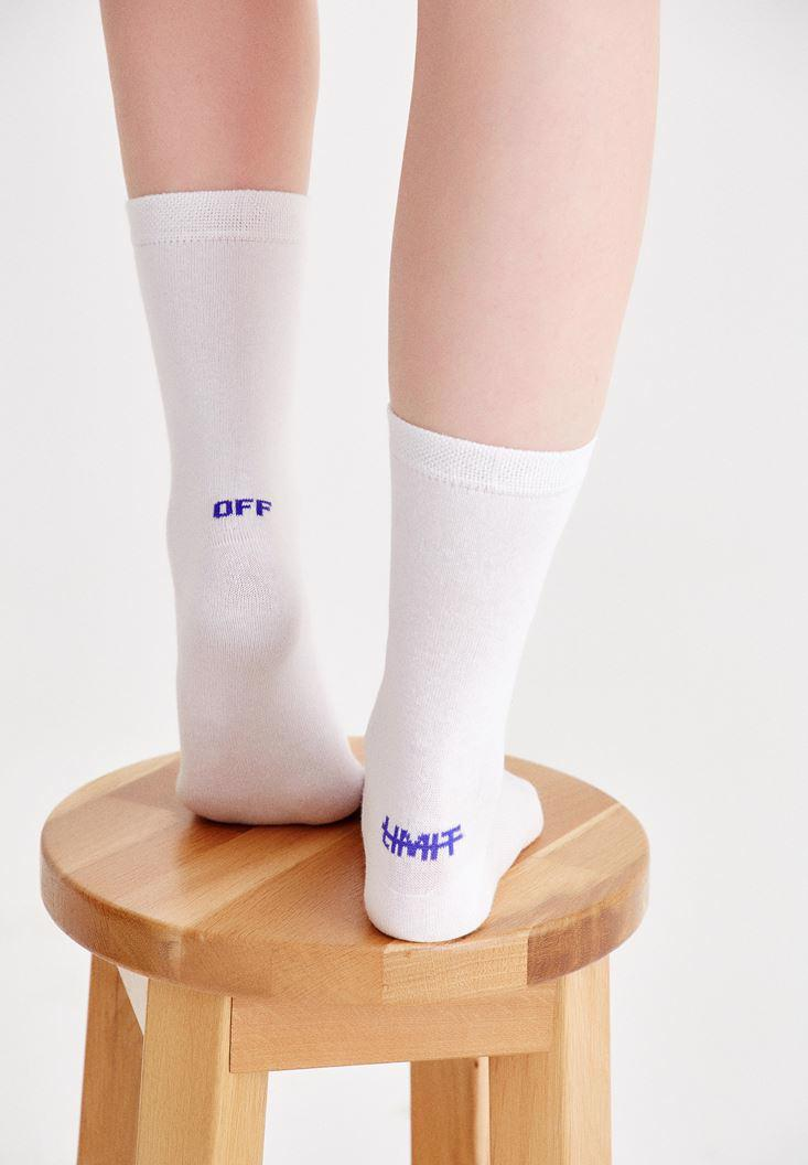 Bayan Beyaz Arkası Sloganlı Çorap