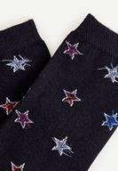 Bayan Siyah Yıldız Desenli Çorap