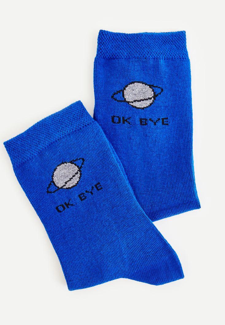 Mavi Slogan Detaylı Pamuk Çorap