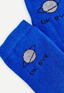 Bayan Mavi Slogan Detaylı Pamuk Çorap