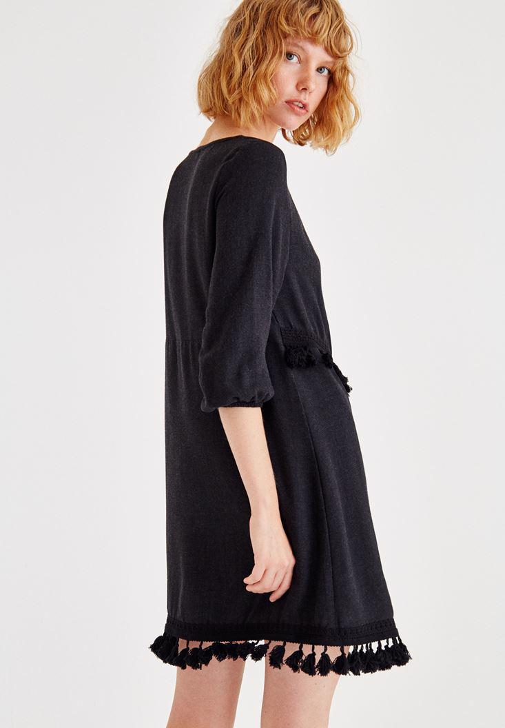 Bayan Siyah Püskül Detaylı Uzun Kollu Elbise