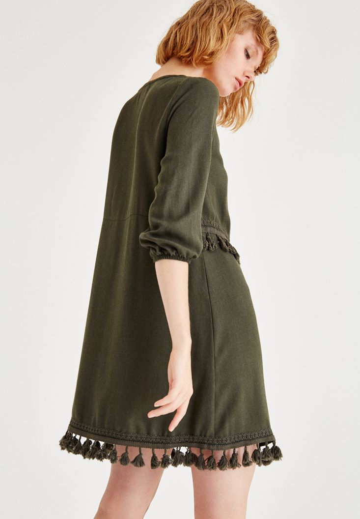 Bayan Yeşil Püskül Detaylı Uzun Kollu Elbise