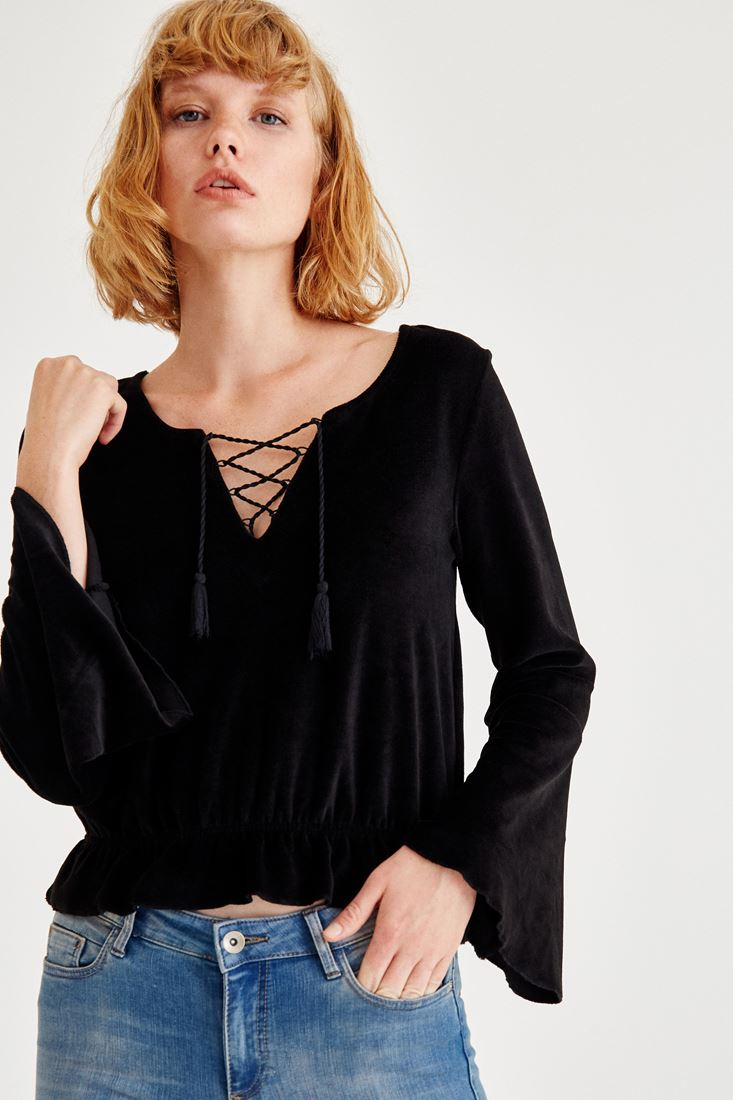Black Blouse With Cord Detailed