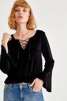 Bayan Siyah Bağlama Detaylı Kadife Bluz