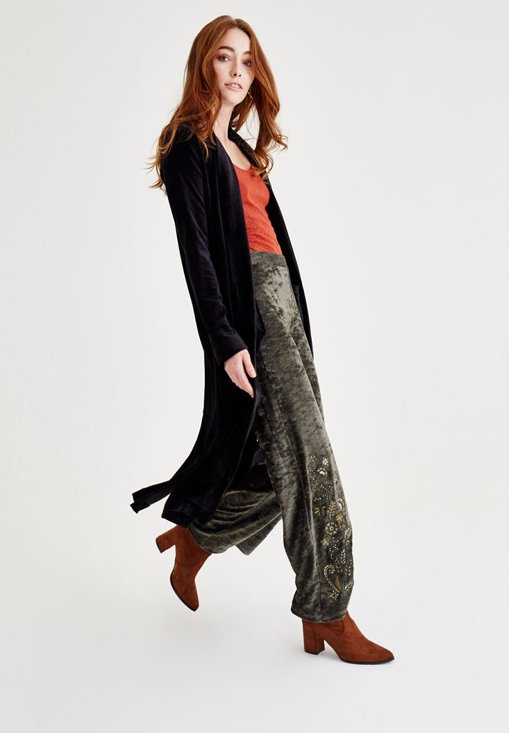 Siyah Kadife Uzun Ceket