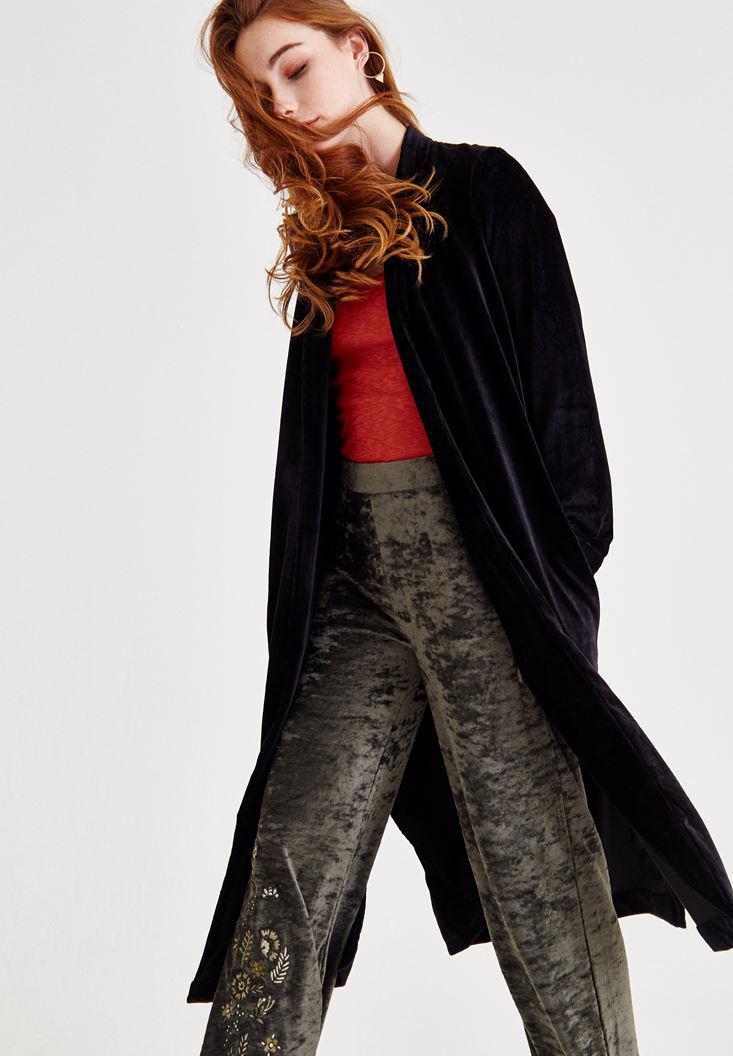 Bayan Siyah Kadife Uzun Ceket