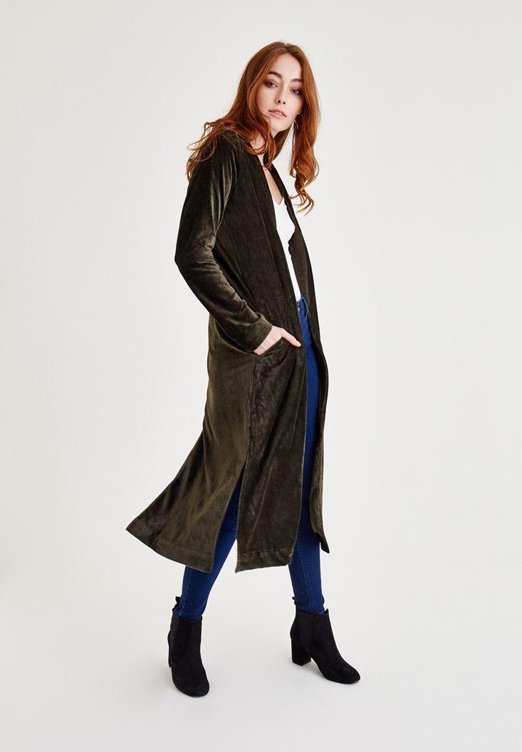 Yeşil Kadife Uzun Ceket