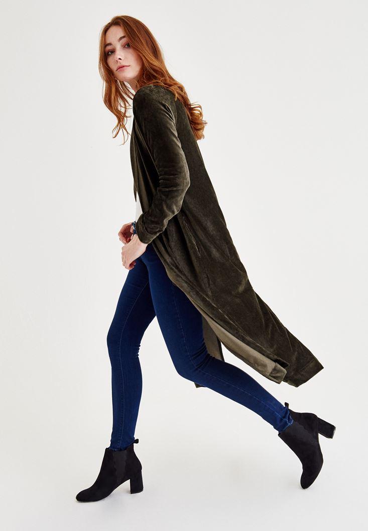 Bayan Yeşil Kadife Uzun Ceket