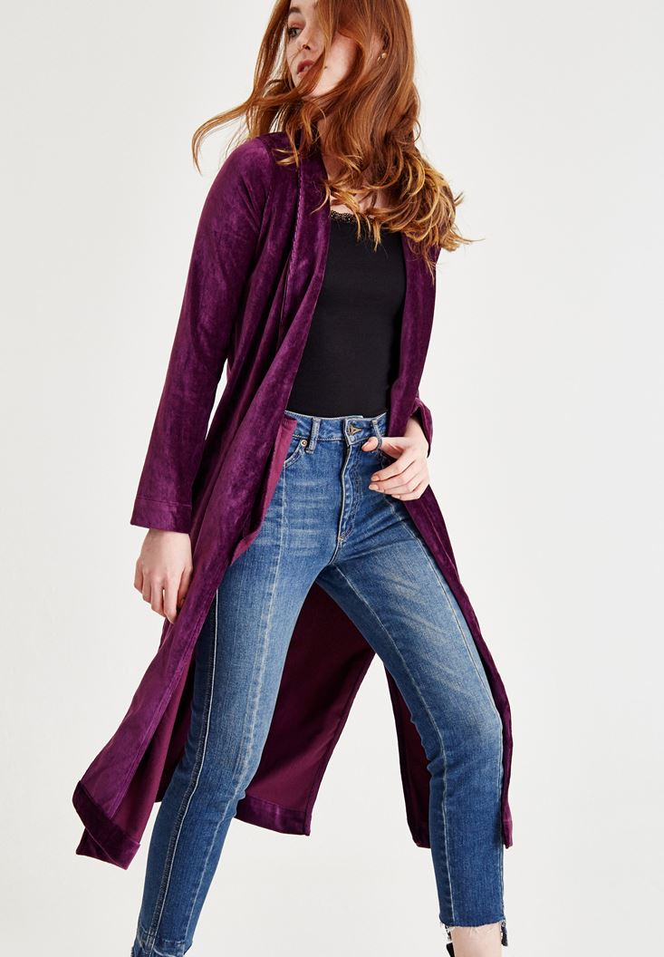 Purple Jacket With Velvet Detailed