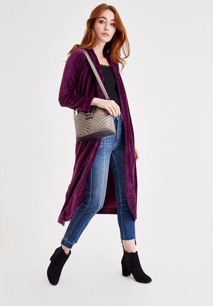 Bayan Mor Kadife Uzun Ceket