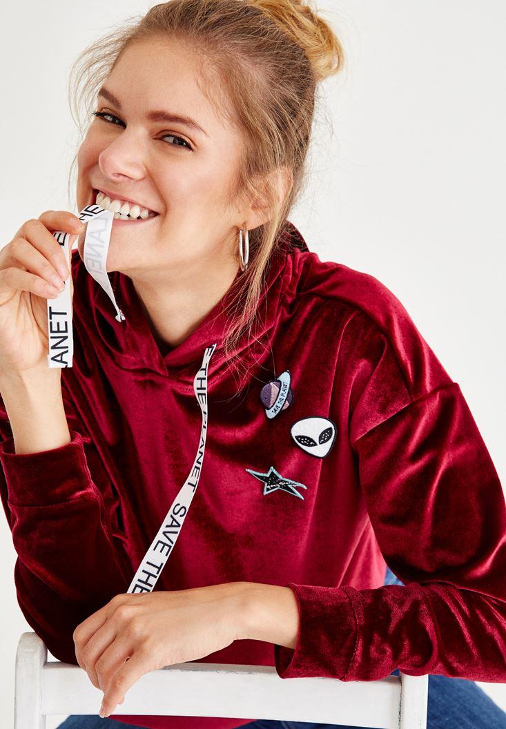 Bordeaux Velvet Sweatshirt With Hood