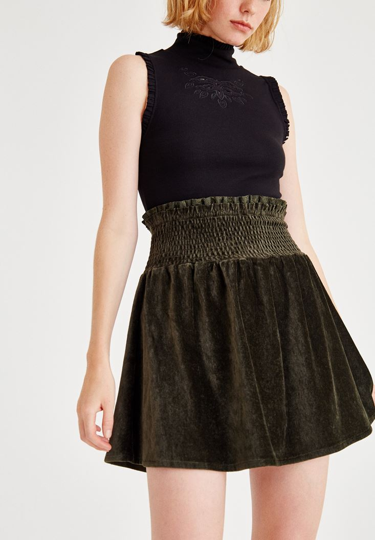 Green Velvet Skirt With Elastic Waist