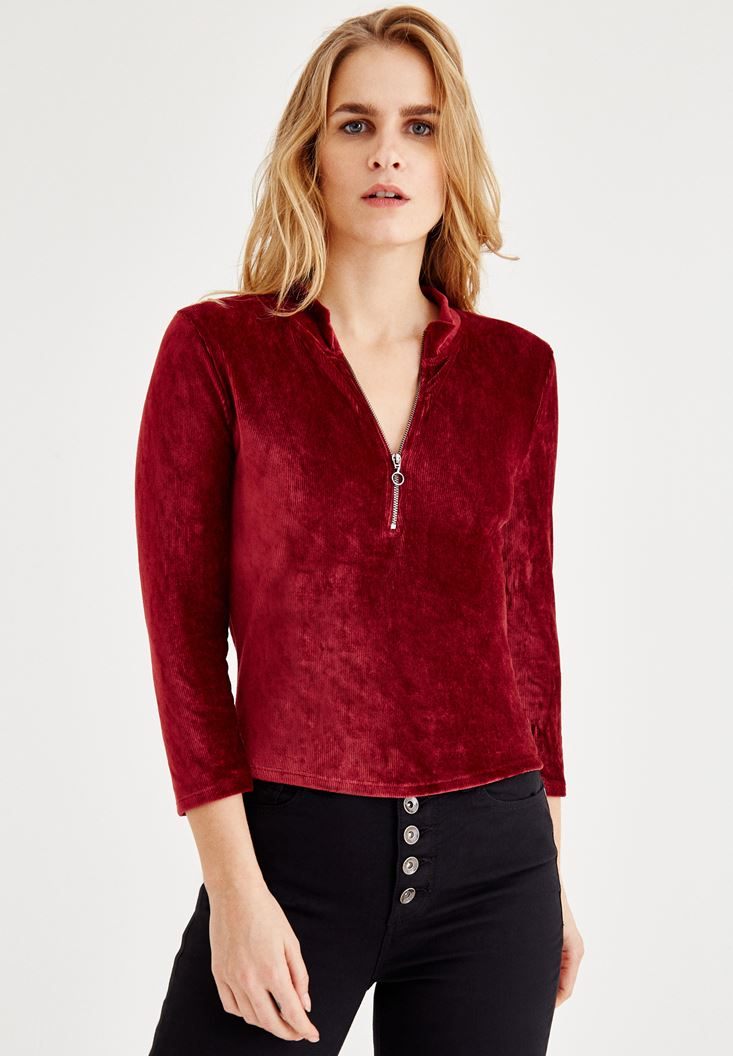 Bordeaux Velvet Blouse With Zipper Detailed