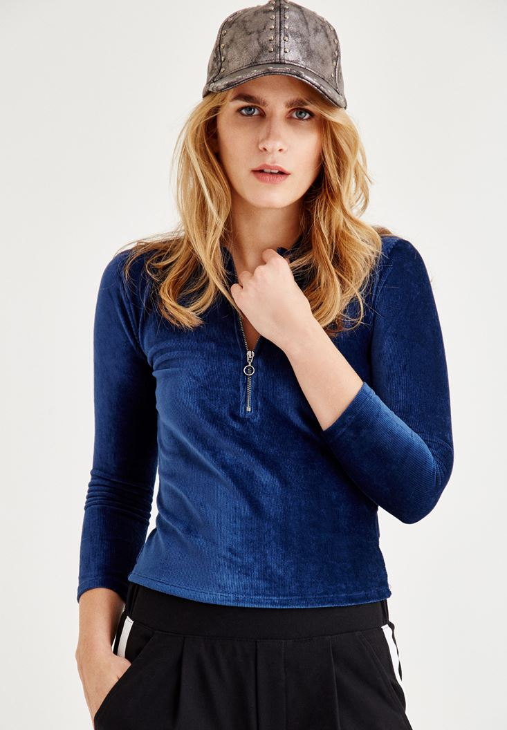 Blue Velvet Blouse With Zipper Detailed
