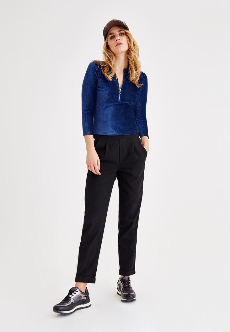 Women Blue Velvet Blouse With Zipper Detailed