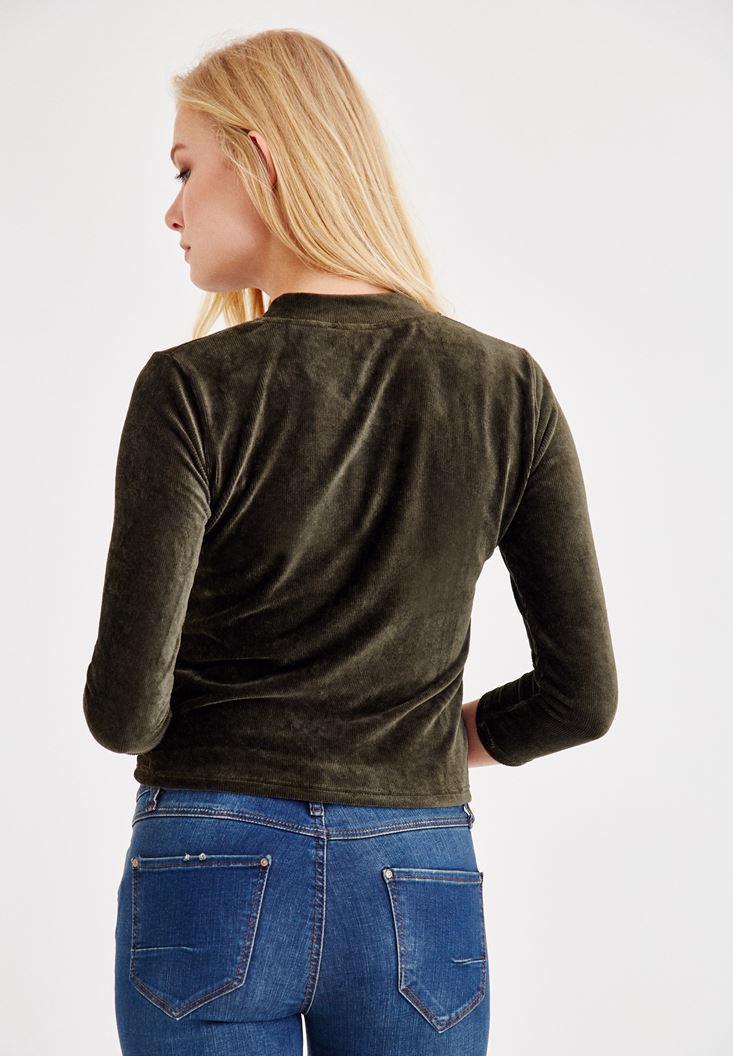 Bayan Yeşil Önü Fermuar Detaylı Kadife Bluz