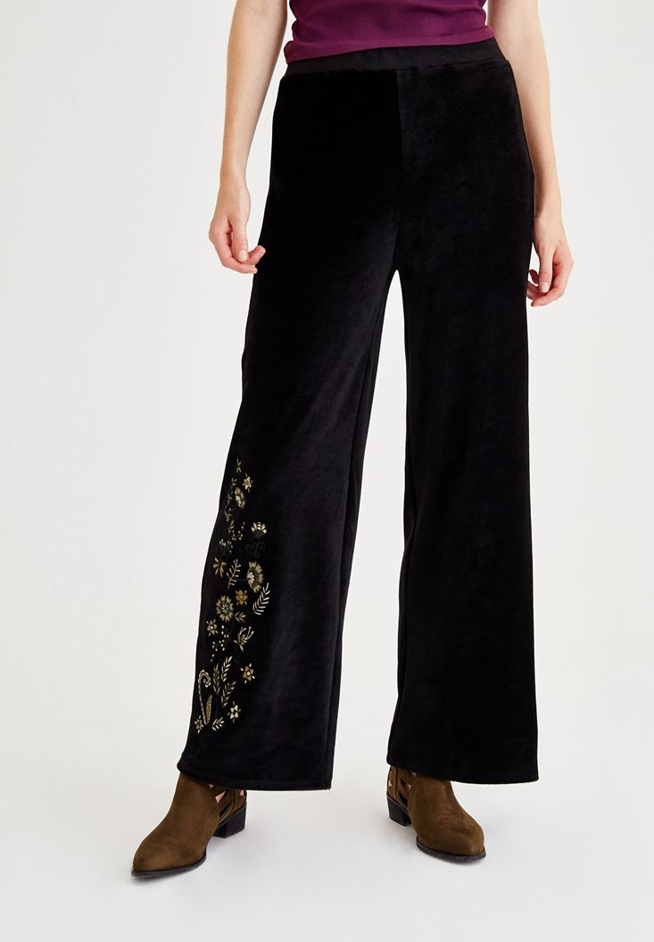 Black Embroidery Detailed Pants
