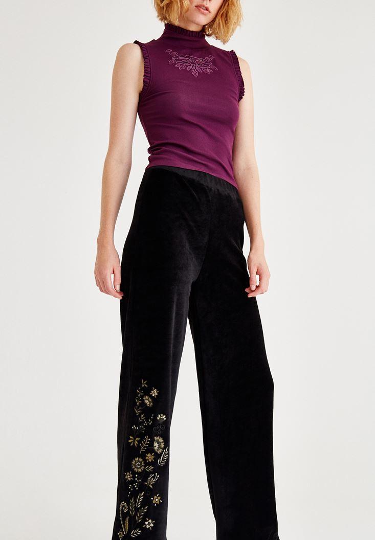 Bayan Siyah Nakış Detaylı Pantolon