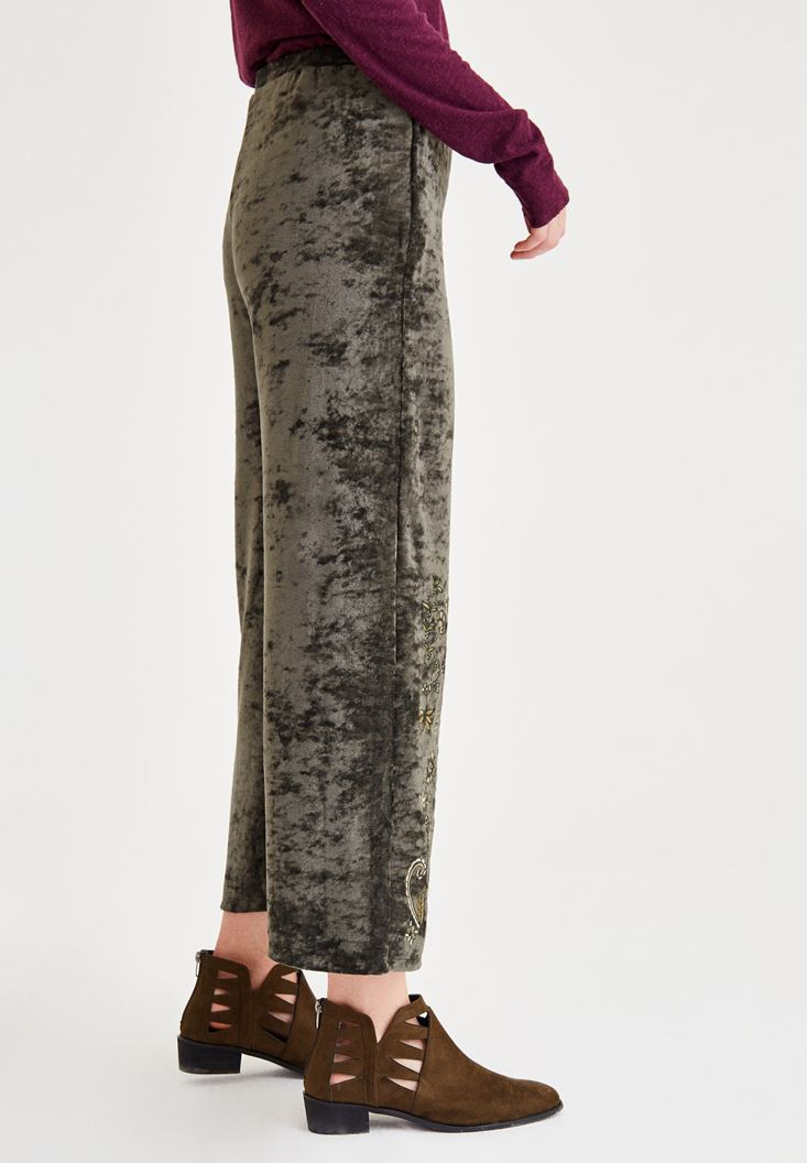 Bayan Yeşil Nakış Detaylı Pantolon