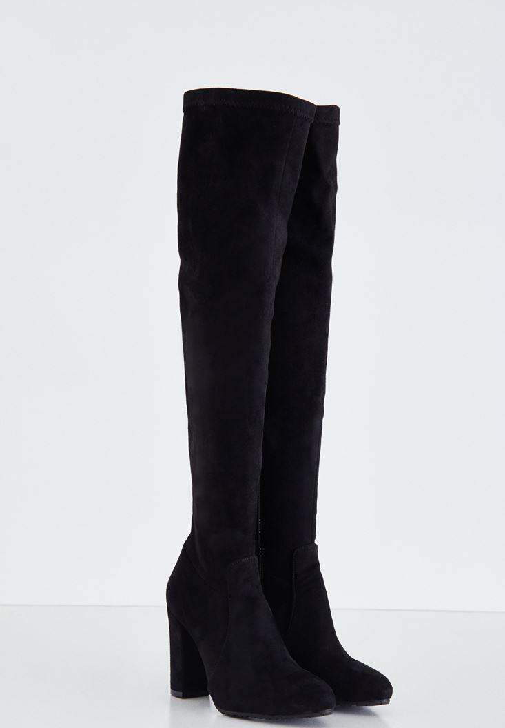 Siyah Topuklu Uzun Çizme