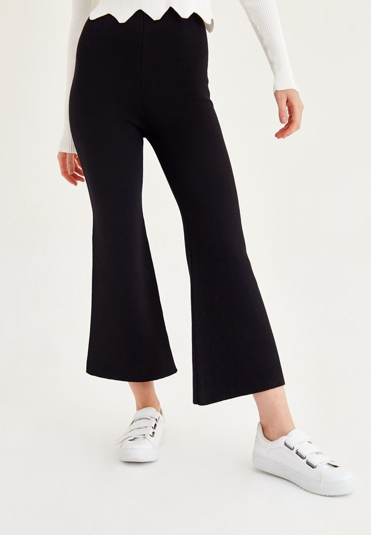 Bayan Siyah Bol Paça Dar Pantolon