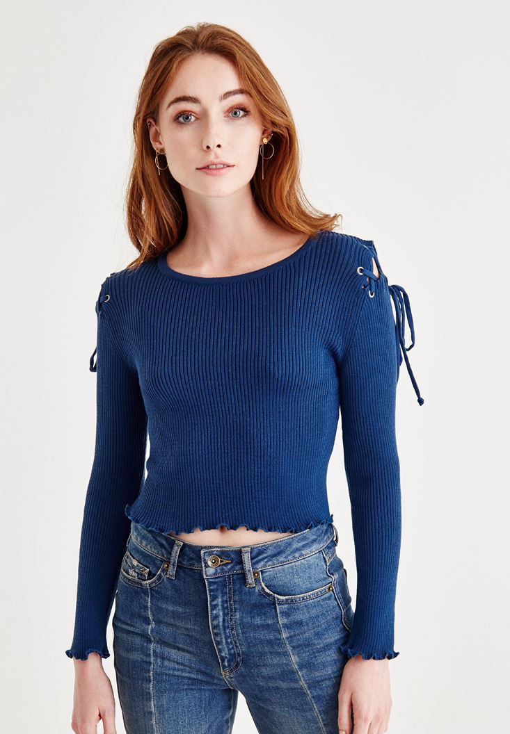 Blue Top With Shoulder Details