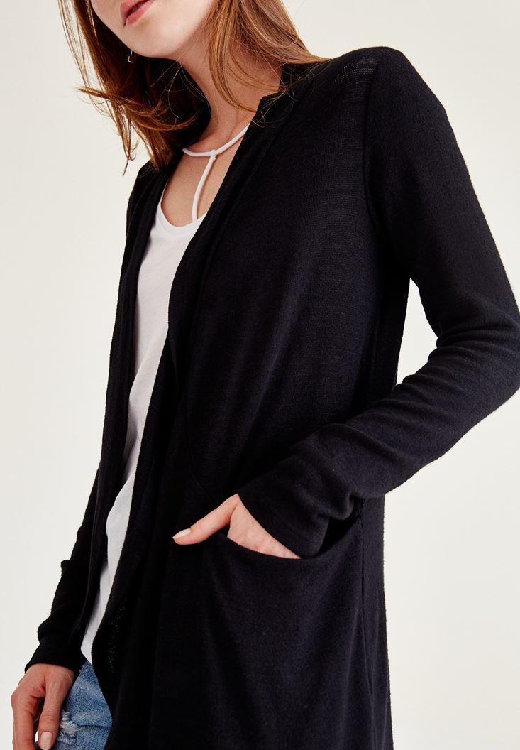 Bayan Siyah Uzun Kollu Uzun Hırka