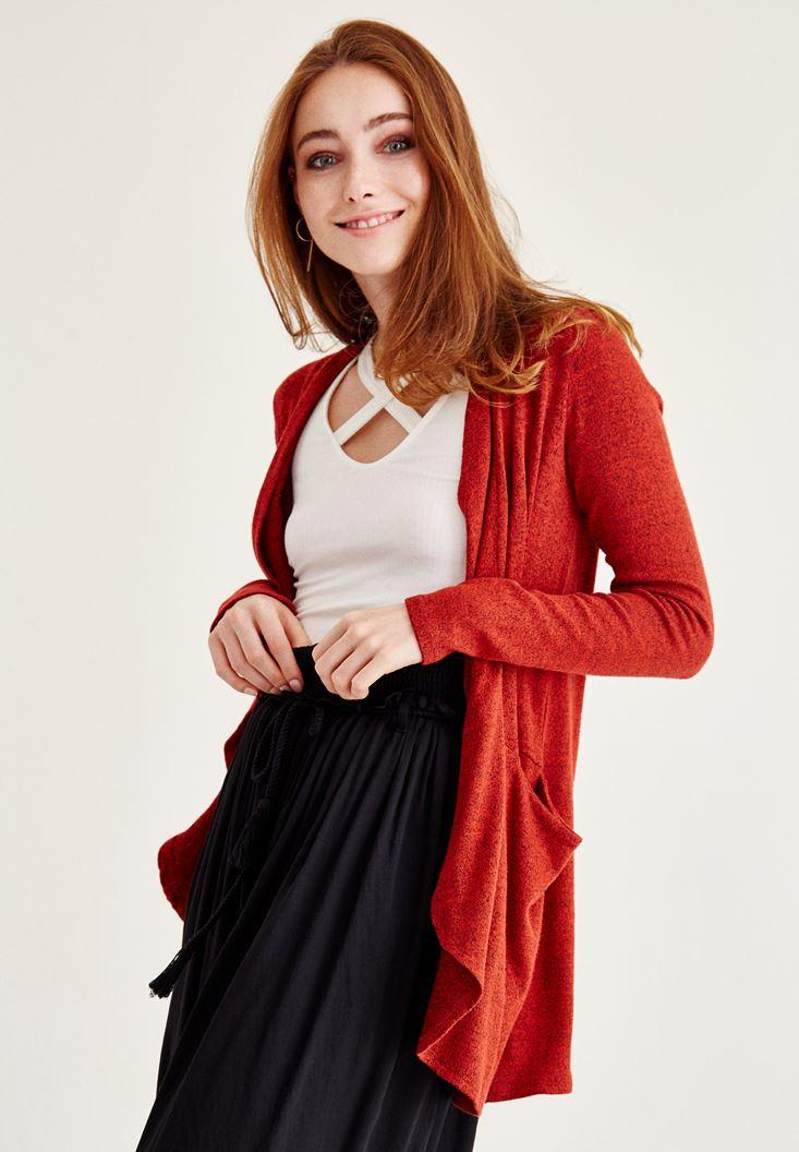 Bayan Kırmızı Uzun Kollu Uzun Hırka