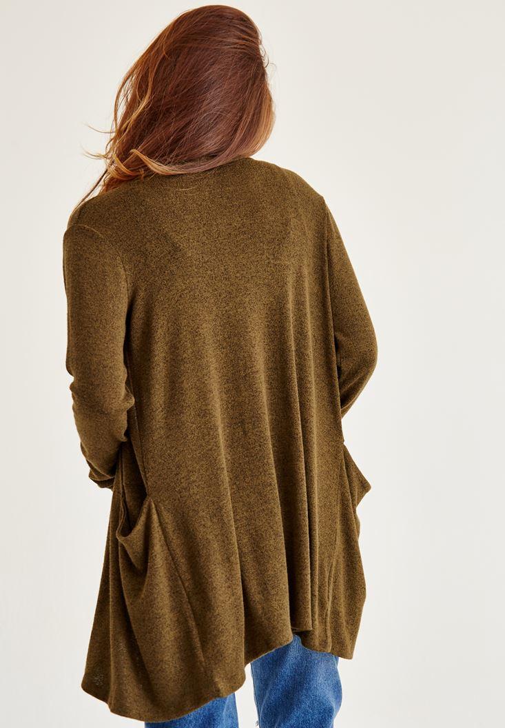 Bayan Yeşil Uzun Kollu Uzun Hırka