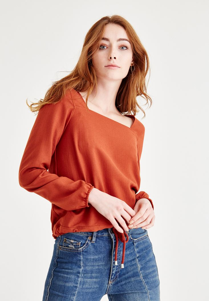 Bayan Kahverengi Kare Yaka Kol Detaylı Bluz