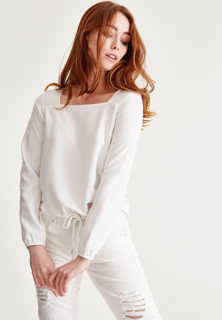 Krem Kare Yaka Kol Detaylı Bluz