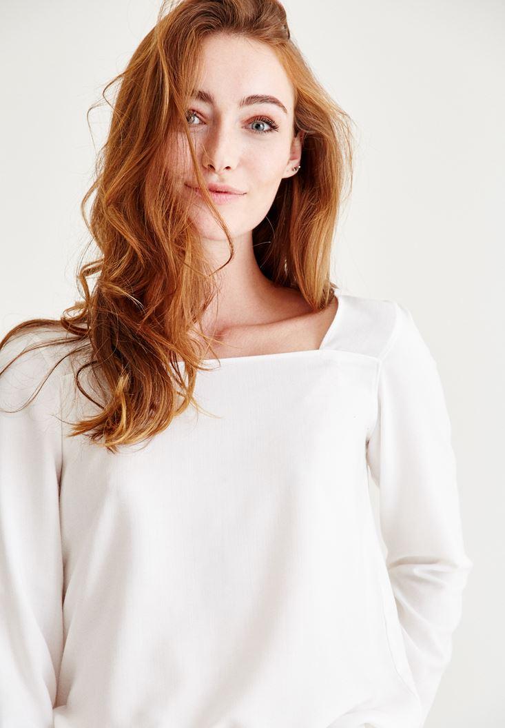 Bayan Krem Kare Yaka Kol Detaylı Bluz