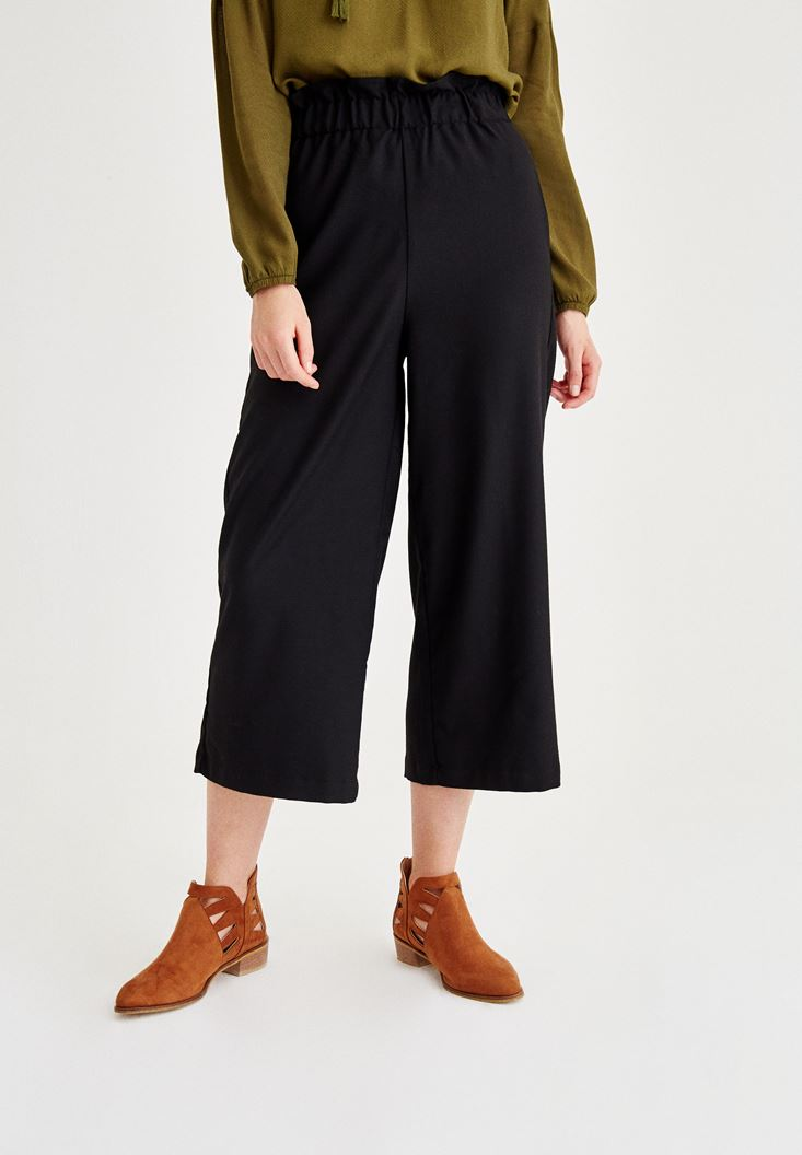 Black Pants Detailed Streched Waist