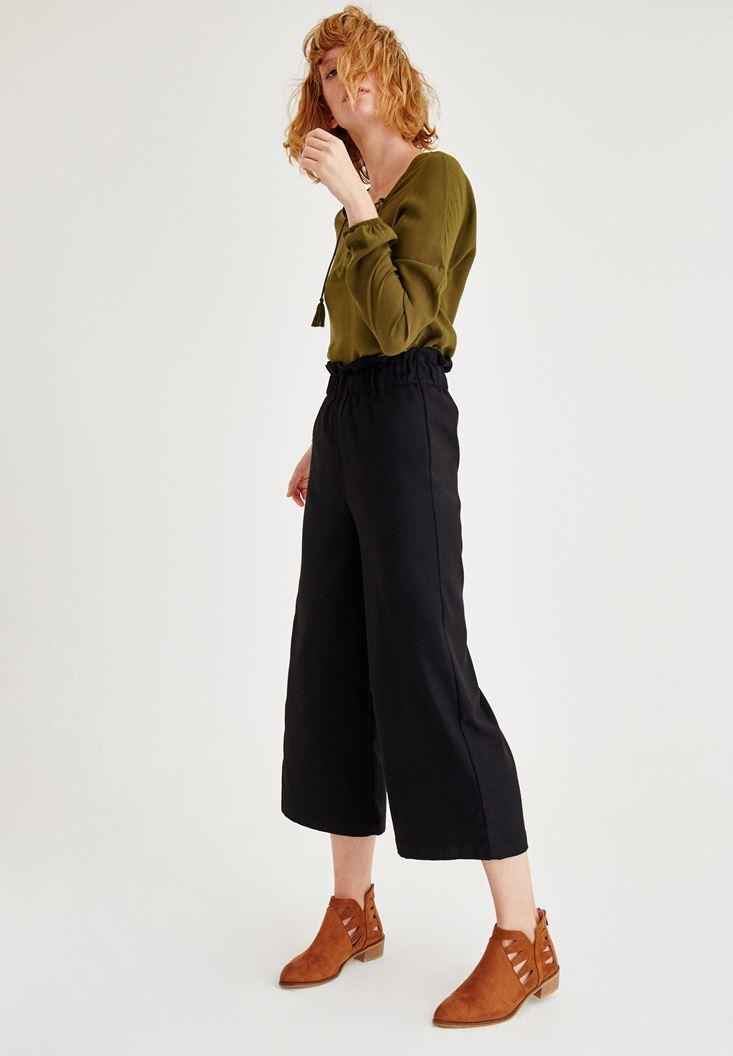 Bayan Siyah Beli Lastik Detaylı Bol Pantolon