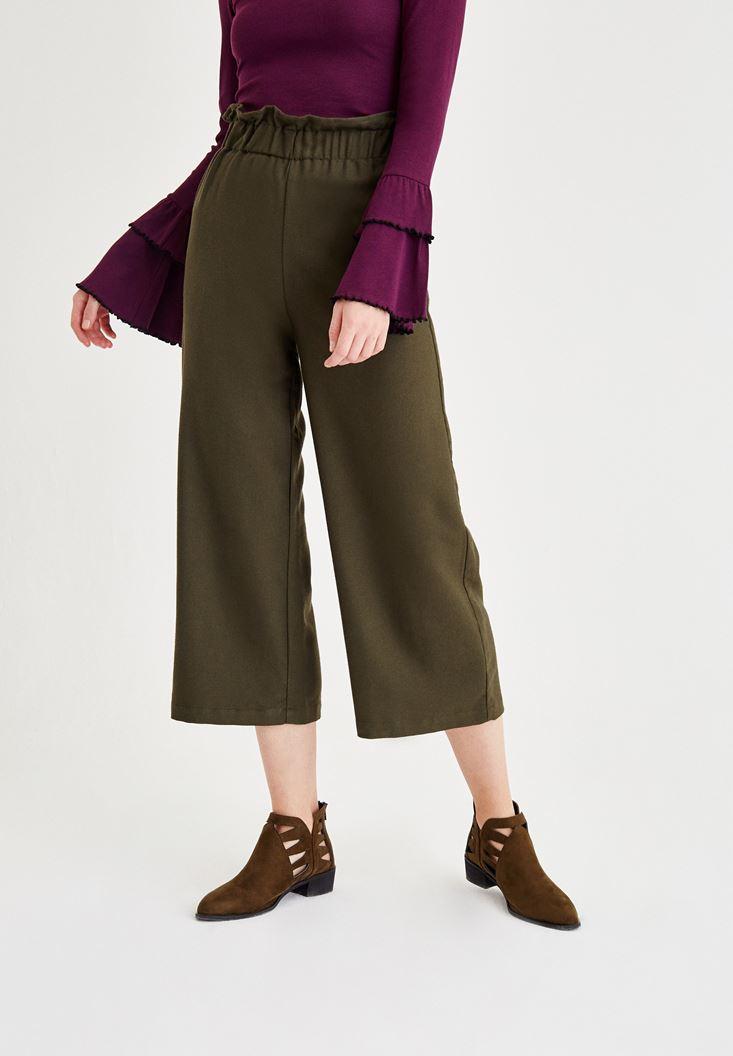 Yeşil Beli Lastik Detaylı Bol Pantolon