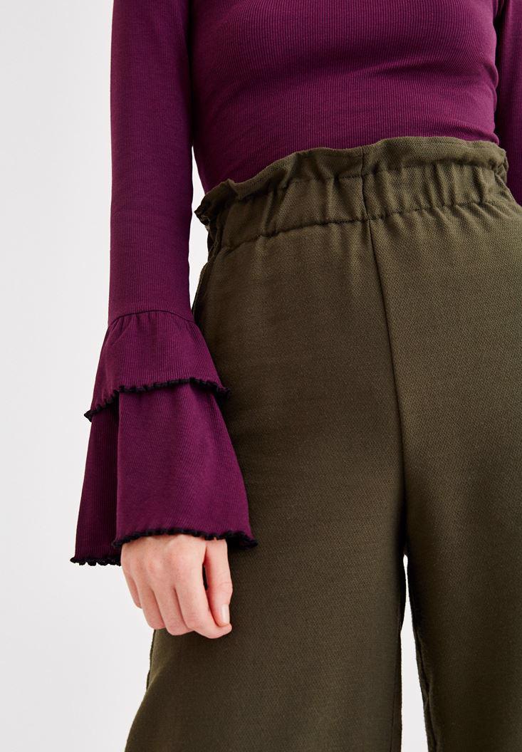 Bayan Yeşil Beli Lastik Detaylı Bol Pantolon