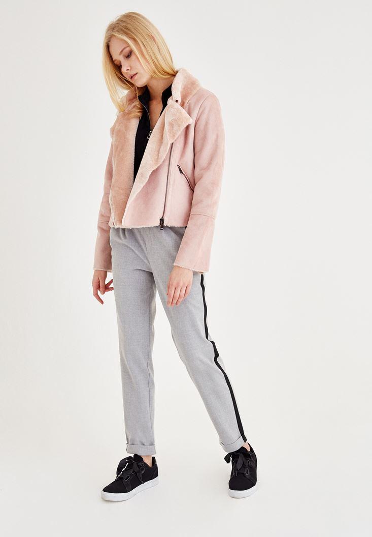 Bayan Gri Şerit Detaylı Cepli Bol Pantolon