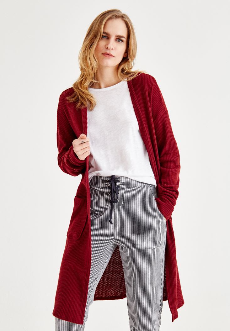 Bordeaux Cardigan with Long Sleeve and Pockets