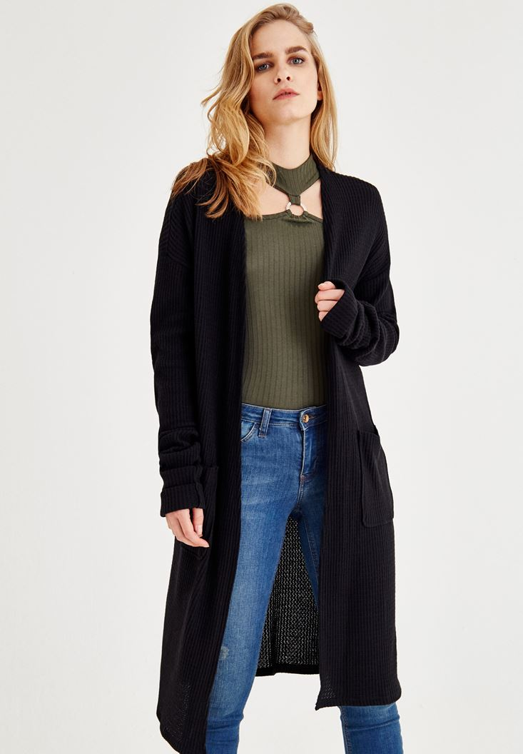 Black Cardigan with Long Sleeve and Pockets