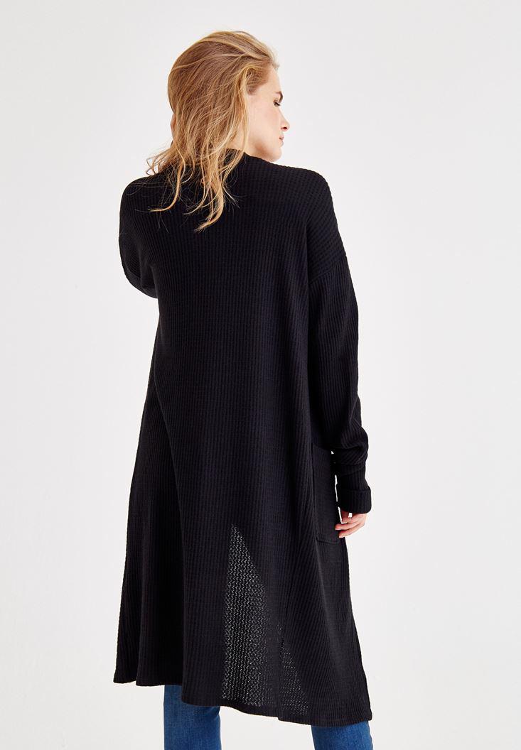 Bayan Siyah Uzun Kollu Cepli Hırka