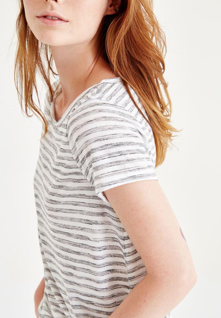 Bayan Çok Renkli Yarım Kollu Çizgili Basic Tişört