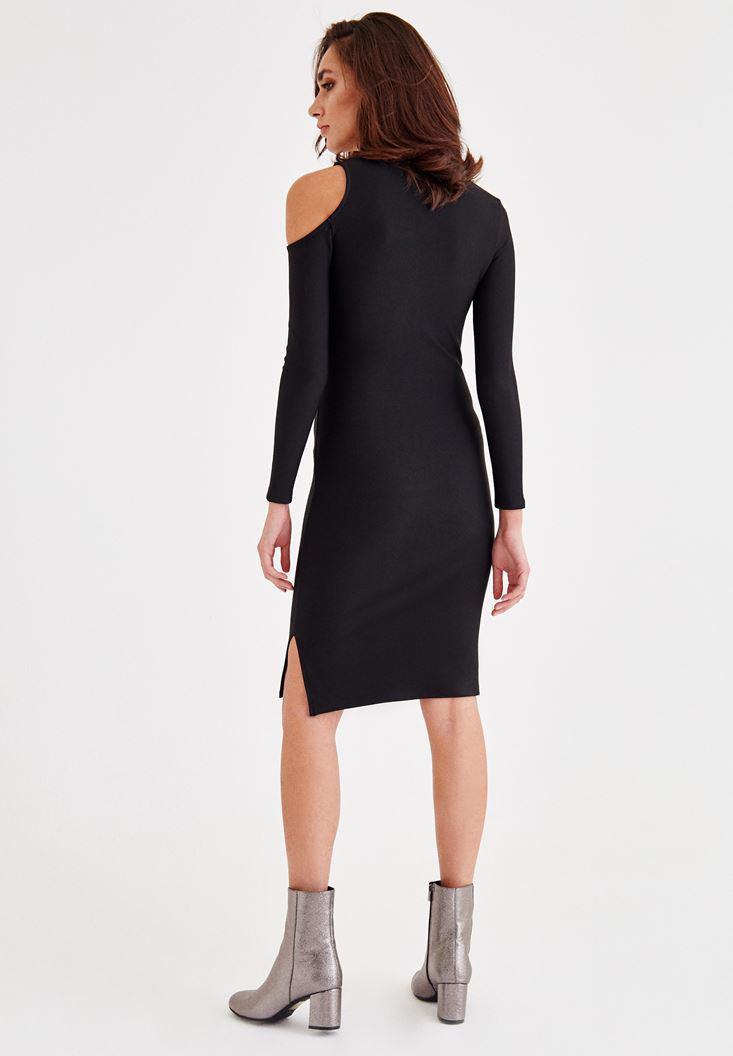 Bayan Siyah Omuz Detaylı Dar Kesim Elbise