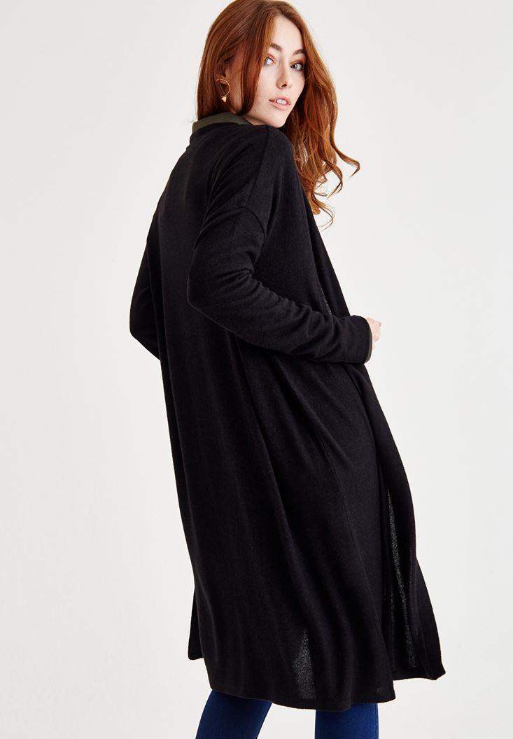 Bayan Siyah Uzun Kollu Yanları Yırtmaç Detaylı Hırka