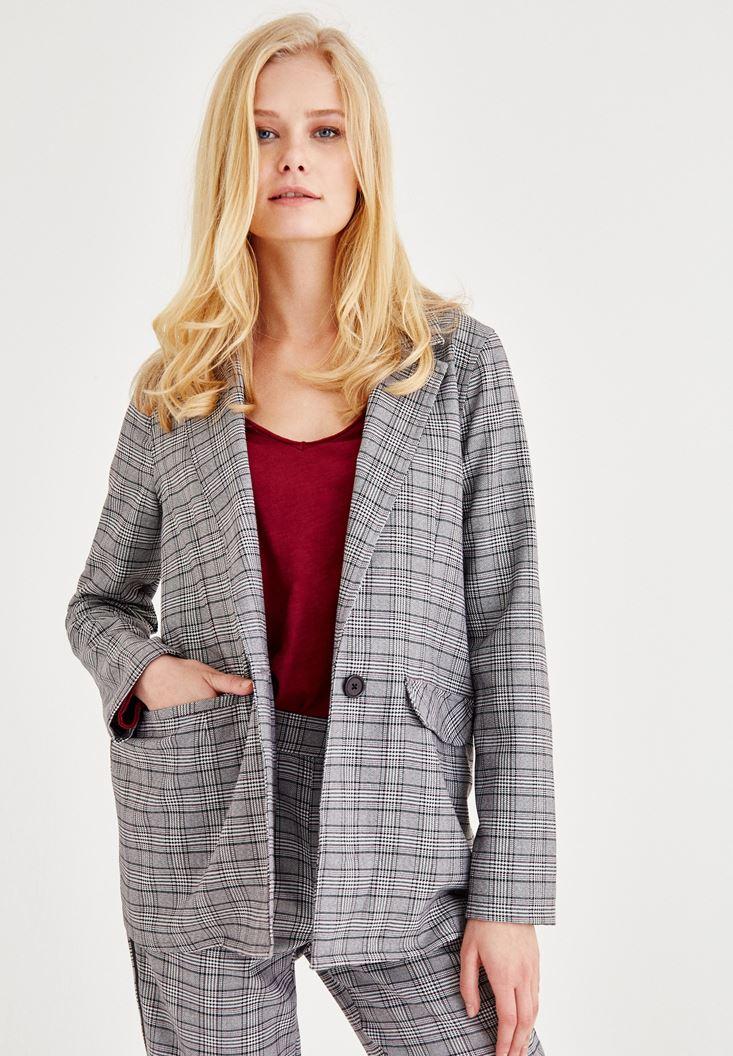 Ekose Blazer Ceket