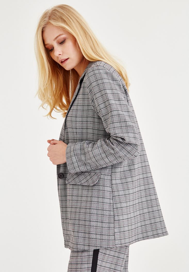 Bayan Gri Ekose Blazer Ceket
