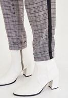 Bayan Gri Ekose Desenli Şerit Detaylı Pantolon