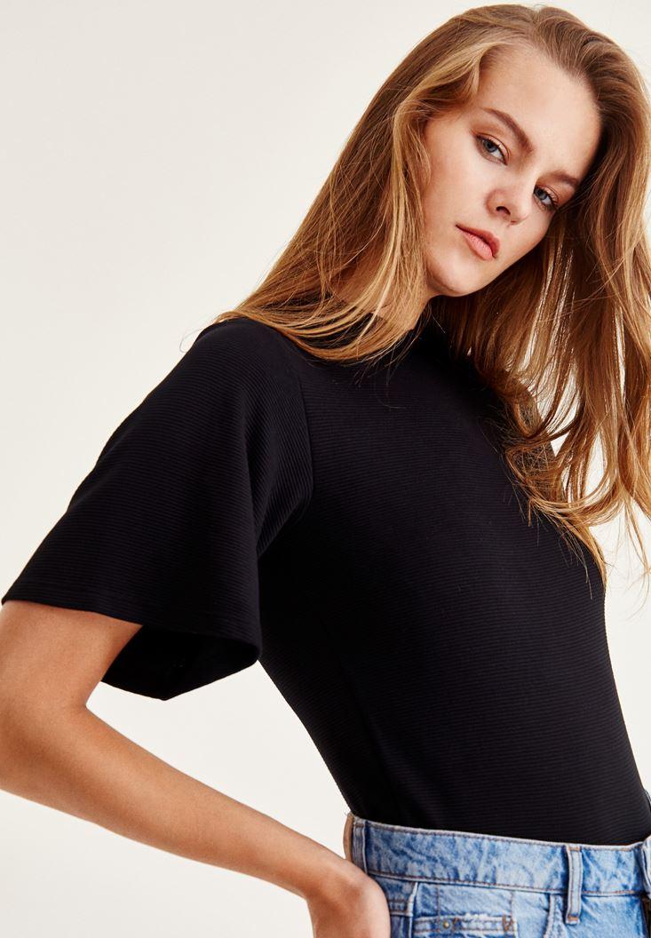 Bayan Siyah Kolları Bol Bluz