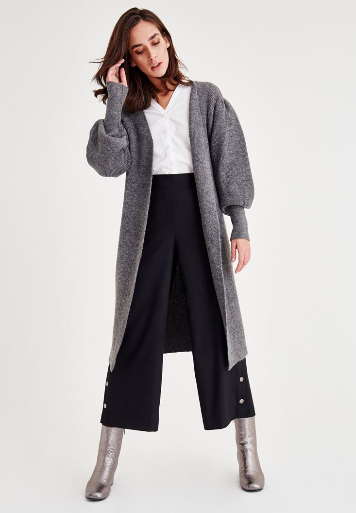 Bayan Siyah Paça Detaylı Pantolon